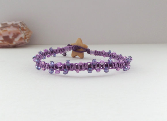 Purple and Pink Beaded Macrame Bracelet, Deep Purple Cord Bracelet