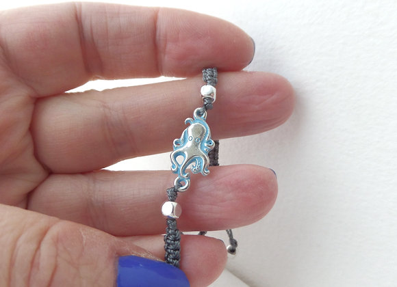 Macrame Octopus Bracelet, Dark Grey Cord Macrame Bracelet