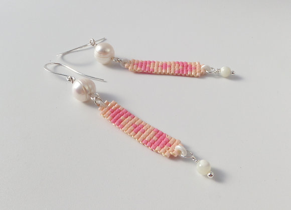 Akoya Pearl, Salmon Pink Silver Earrings