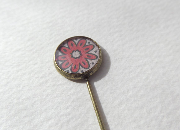 Red Flower Antique Bronze Tie Pin, Stick Pin, Brooch Pin