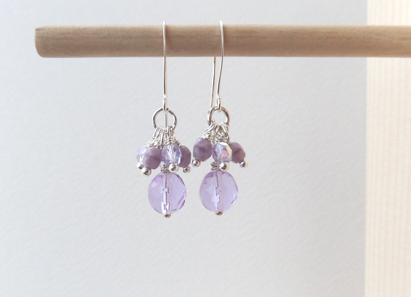 Lilac Earrings, Lilac and Purple, Cluster Dangle Silver