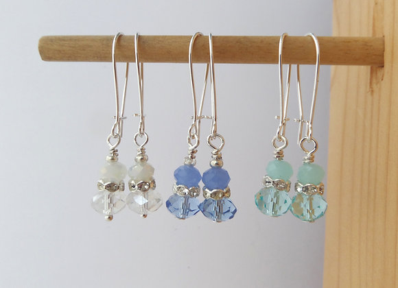 Pretty Crystal Silver Earrings, Kidney Wire Dangle Drops