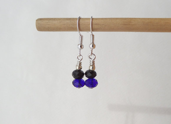 Black and Blue Earrings, Cobalt Blue Crystal, Silver Dangle Earrings