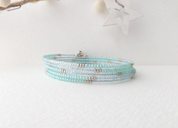Aqua and Mint Blue, Silver Bangle/Bracelet