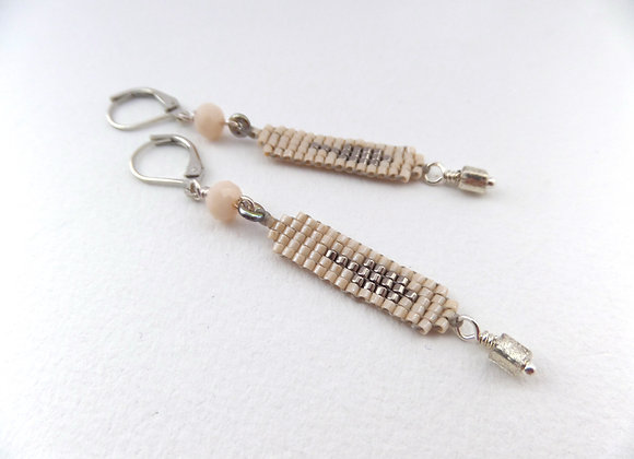 Neutral Nude and Grey Long Dangle Silver Earrings