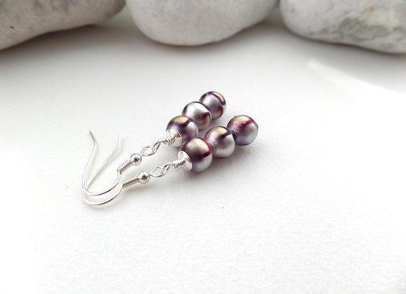 Purple Giraffe Earrings, Drop Dangle Silver Earrings