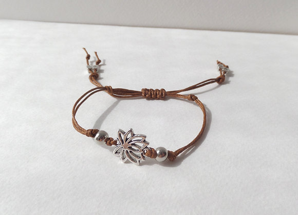 Silver Lotus Flower Bracelet, Brown Cotton Cord Bracelet