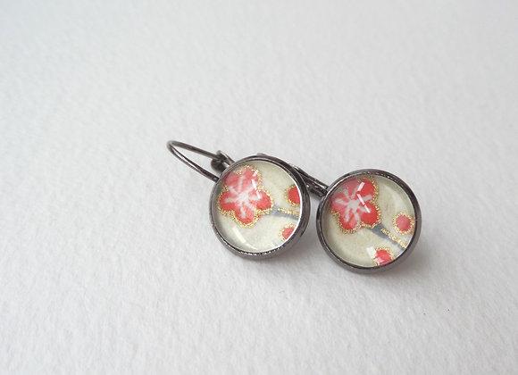 Gunmetal and Blossom Earrings, Coral Flowers, Dangle Earrings