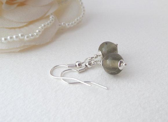 Khaki Grey Silver Earrings, Silver Hook Fittings, dangle drops