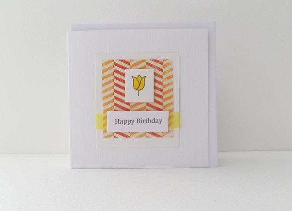 Yellow Tulip Handmade Birthday Card