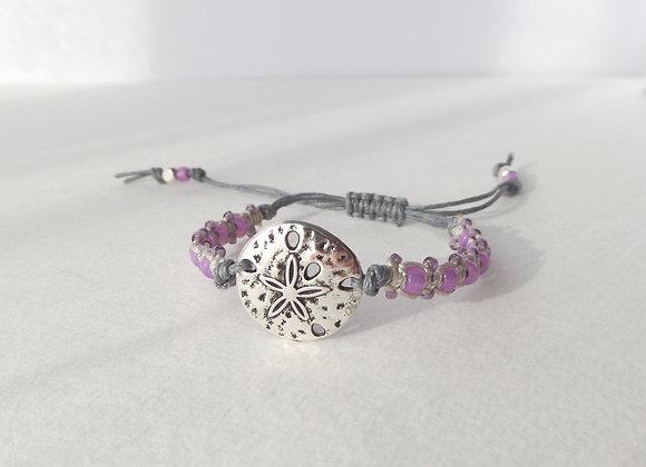 Silver Sand Dollar Bracelet, Pink Beaded Macrame, Grey Cord Bracelet