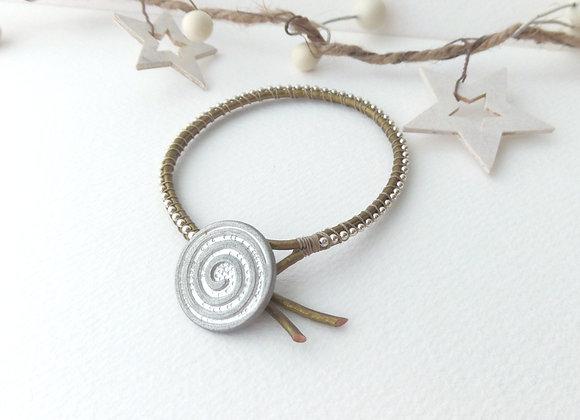 Gold Leather Bracelet, Silver Beaded, Swirl Clasp Bracelet