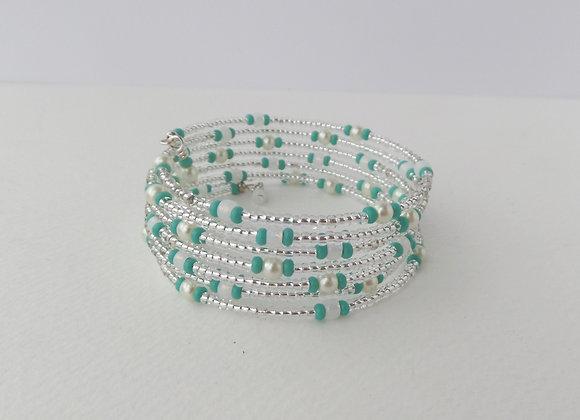 Summer Turquoise Green Bracelet, Beaded Bangle Set