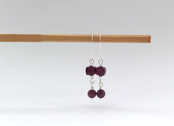 Merlot Wine Earrings, Silver Hook Fittings, dangle drops