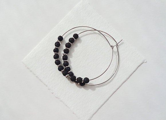Black Lava Stone Beaded Hoop Silver Earrings.