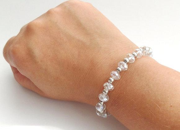 Clear Crystal Bracelet, Tibetan Silver Toggle Clasp Bracelet