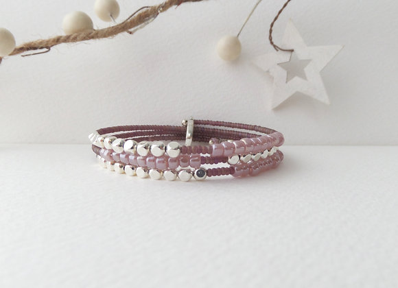 Mauve Purple beaded, Silver Cube Bangle/bracelet