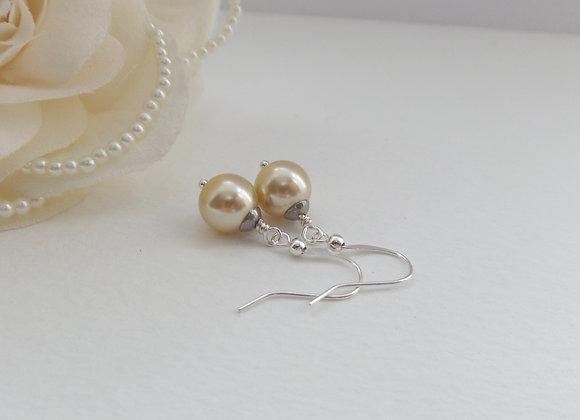 Big Glass Pearl Earrings, Pearl Drops, Dangle Silver Earrings