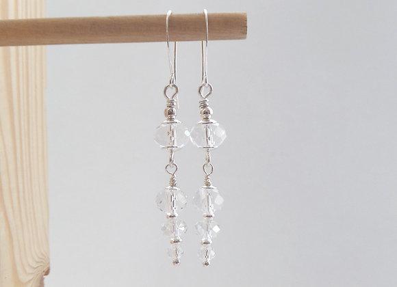 Crystal earrings, Clear Dangle Silver Earrings