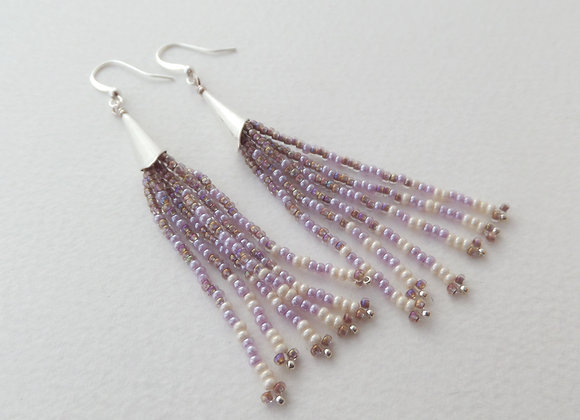 Long Mauve and Ivory Fringe Dangle Silver Earrings