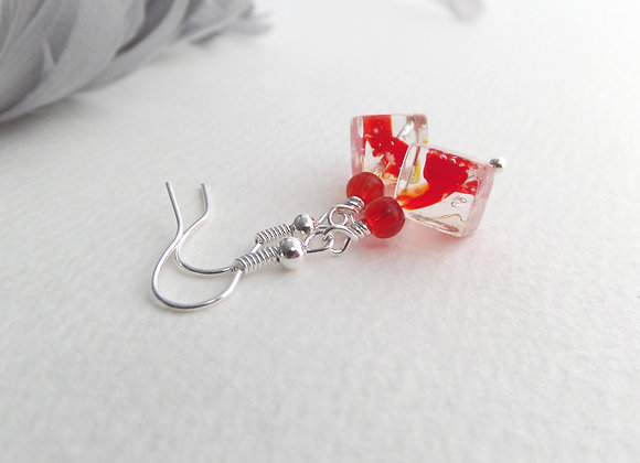 Bold Tomato Red Earrings, Cube Dangle Silver Earrings