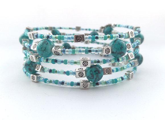 Turquoise Green Bracelet, Tibetan Silver Memory Bangle