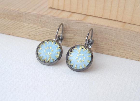 Gunmetal and Blue Earrings, Aqua Flowers, Dangle Earrings