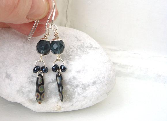 Navy Blue, Long Drop Dangle Silver Earrings