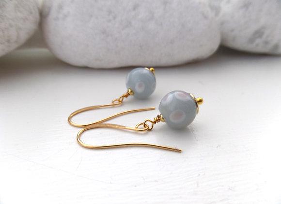 Grey Glass Gold Earrings, dangle earrings