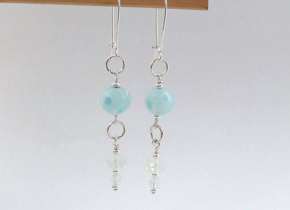Aqua Turquoise Glass and Moonstone Crystal Long Dangle, Silver Earrings