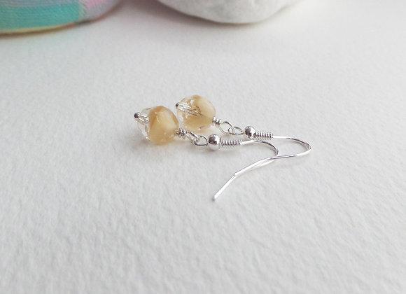 Czech Glass Earrings, Dangle Silver Earrings