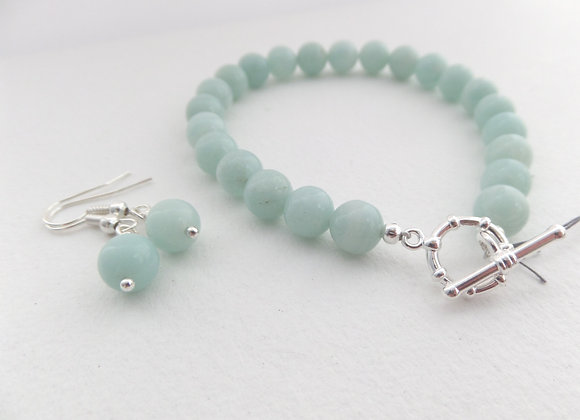 Amazonite Bracelet, Beaded Silver Toggle Clasp Bracelet/Set