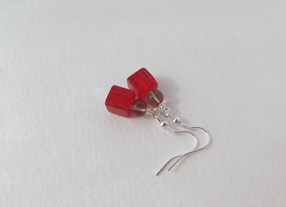 Red and Grey Silver Earrings, Silver Hook Fittings, dangle drops