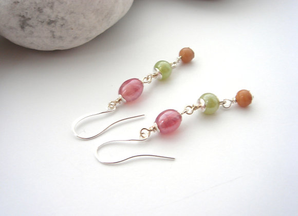 Summer Long Earrings, Pink, Green, Beige Dangle Silver Earrings