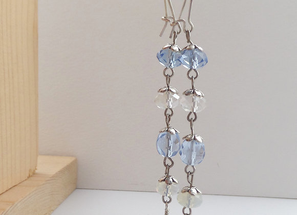 Blue Earrings, Moonstone Crystal, Long Tibetan Silver Dangle Earrings