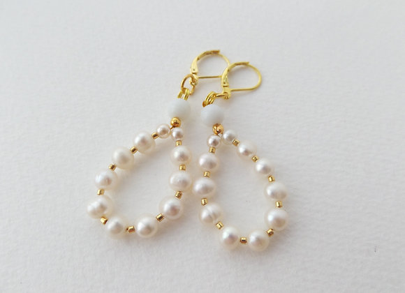 Gold and Ivory Pearl Earrings, French Fittings, Pearl Bridal Dangle Earrings