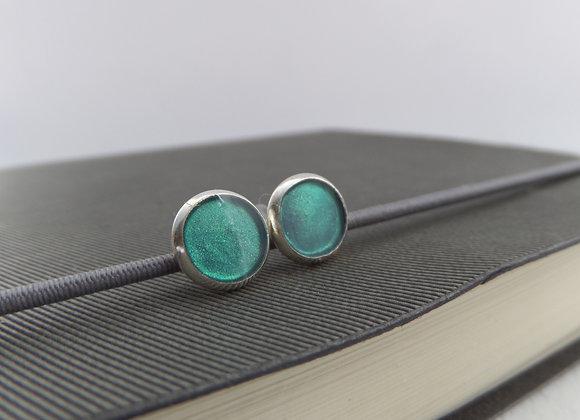 Green Shimmer Silver Studs, Small Round Stud Earrings, 8mm earrings