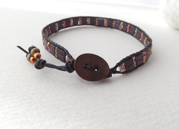 Black Bronze Beaded Bracelet, Leather Cord Ladder