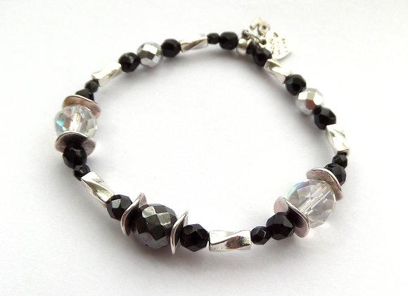 Tibetan Silver Stretch Bracelet, Jet Black & Clear Czech Glass Elastic Bracelet
