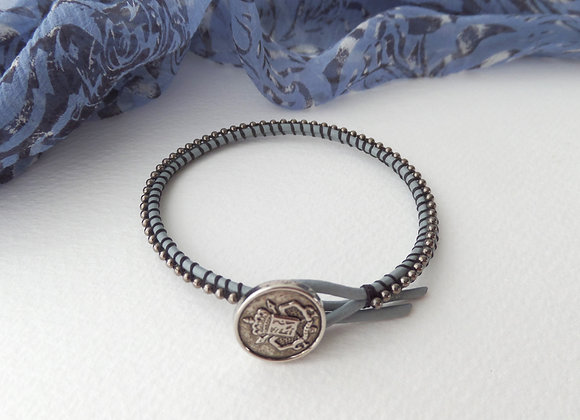 Grey Leather Bracelet, Gunmetal beaded Crest Clasp Bracelet