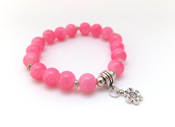Pink Bracelet, Antique Silver and Candy Pink Elastic Bracelet