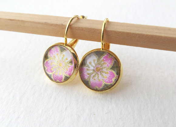 Japanese Blossoms, Pink, Olive and Gold Earrings, hinged dangle earrings
