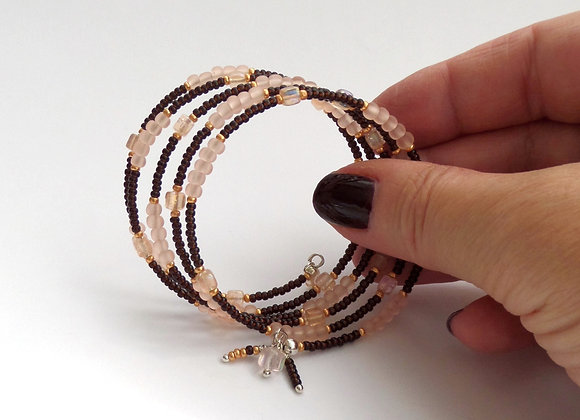 Brown and Peach Bracelet, Silver Memory Bangle