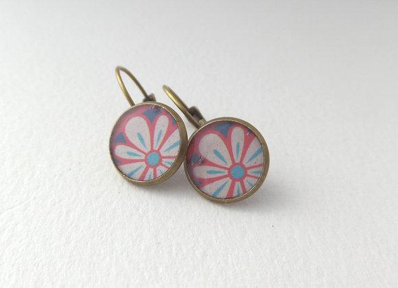 Retro Flower Earrings, Antique Bronze Dangle Earrings