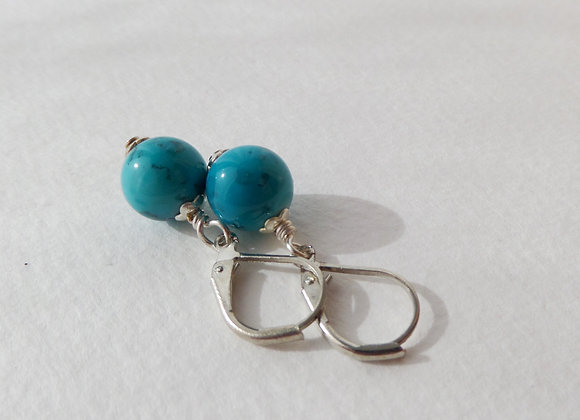 Turquoise Silver Earrings, Leverback French Fitting Silver Earrings.