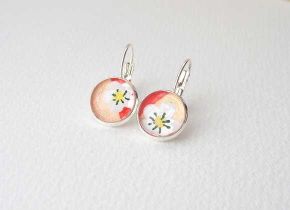 Peach Silver Earrings, Hinged Dangle Japanese Earrings