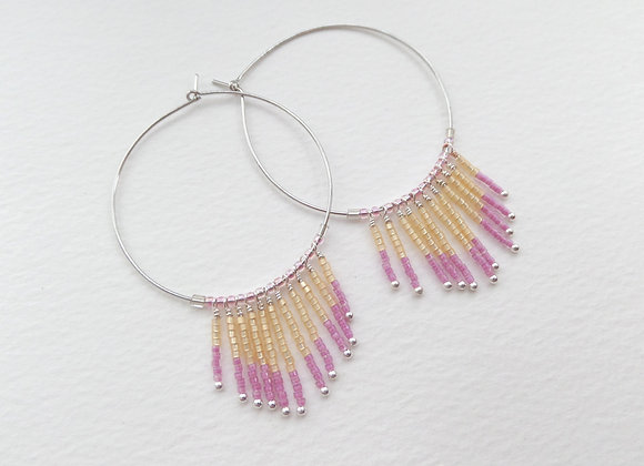 Pink and Cream Fringe Hoop Earrings, Silver Earrings