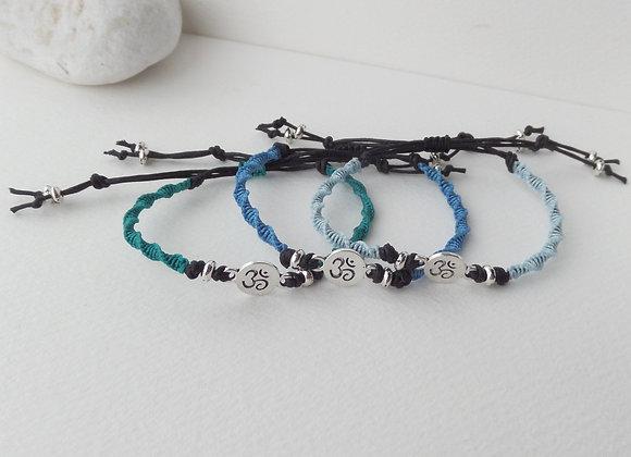Silver Yoga Bracelet, Macrame Bracelet, Black Cotton Cord Bracelet,