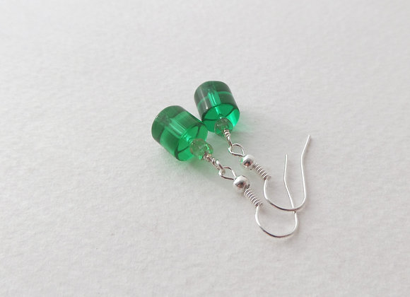 Green Glass Earrings, Dangle Silver Earrings