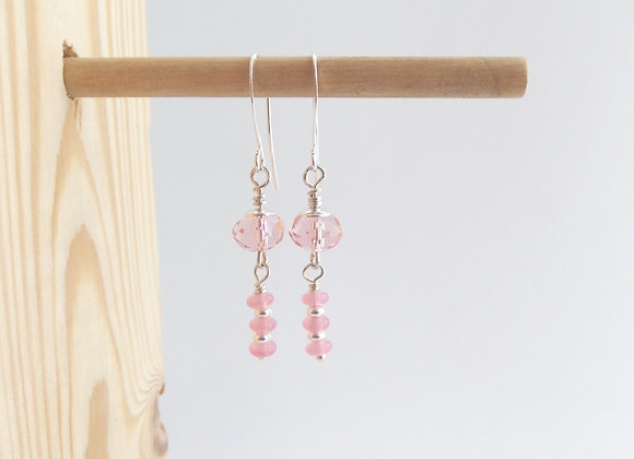 Pink Earrings, Crystal and Quartz Dangle Silver Earrings